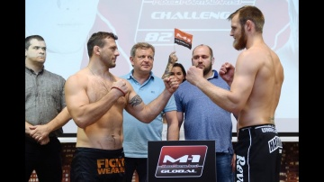 M-1 Challenge 82: Zayats vs Vanttinen weigh-in, Helsinki, Finland, August 5